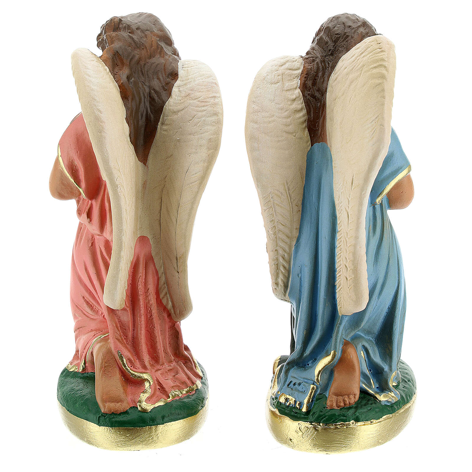 Statue of angels praying 15 cm plaster hand painted Arte Barsanti 4