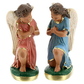 Statue of angels praying 15 cm plaster hand painted Arte Barsanti s1