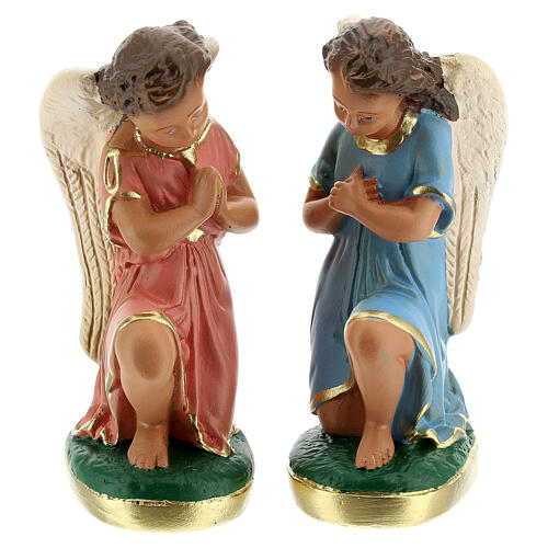 Statue of angels praying 15 cm plaster hand painted Arte Barsanti 1