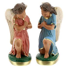 Statue anges en prière plâtre 15 cm Arte Barsanti s1