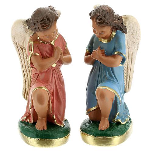 Statue anges en prière plâtre 15 cm Arte Barsanti 1