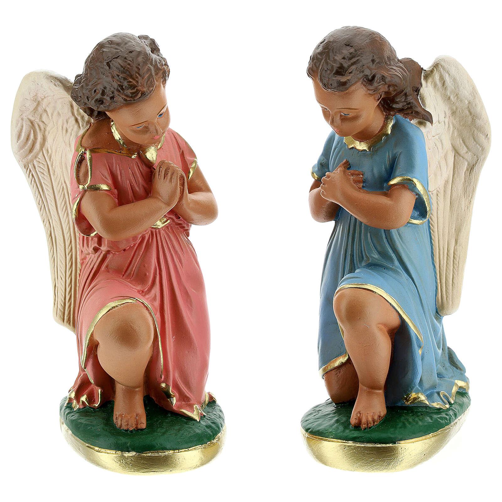 Estatua ángeles oración 20 cm yeso pintada a mano Arte Barsanti 4