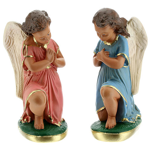 Estatua ángeles oración 20 cm yeso pintada a mano Arte Barsanti 1