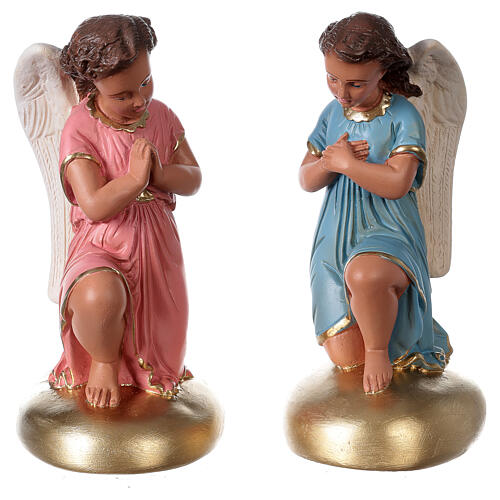 Praying angels hand painted plaster statue Arte Barsanti 30 cm 1