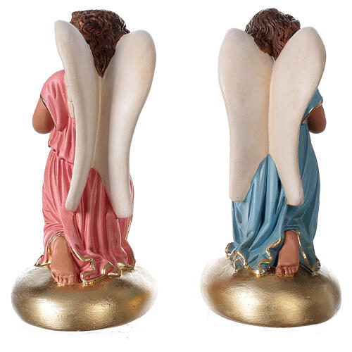 Praying angels hand painted plaster statue Arte Barsanti 30 cm 6
