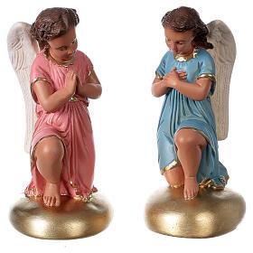 Anges en prière statue plâtre 30 cm peint main Arte Barsanti s1