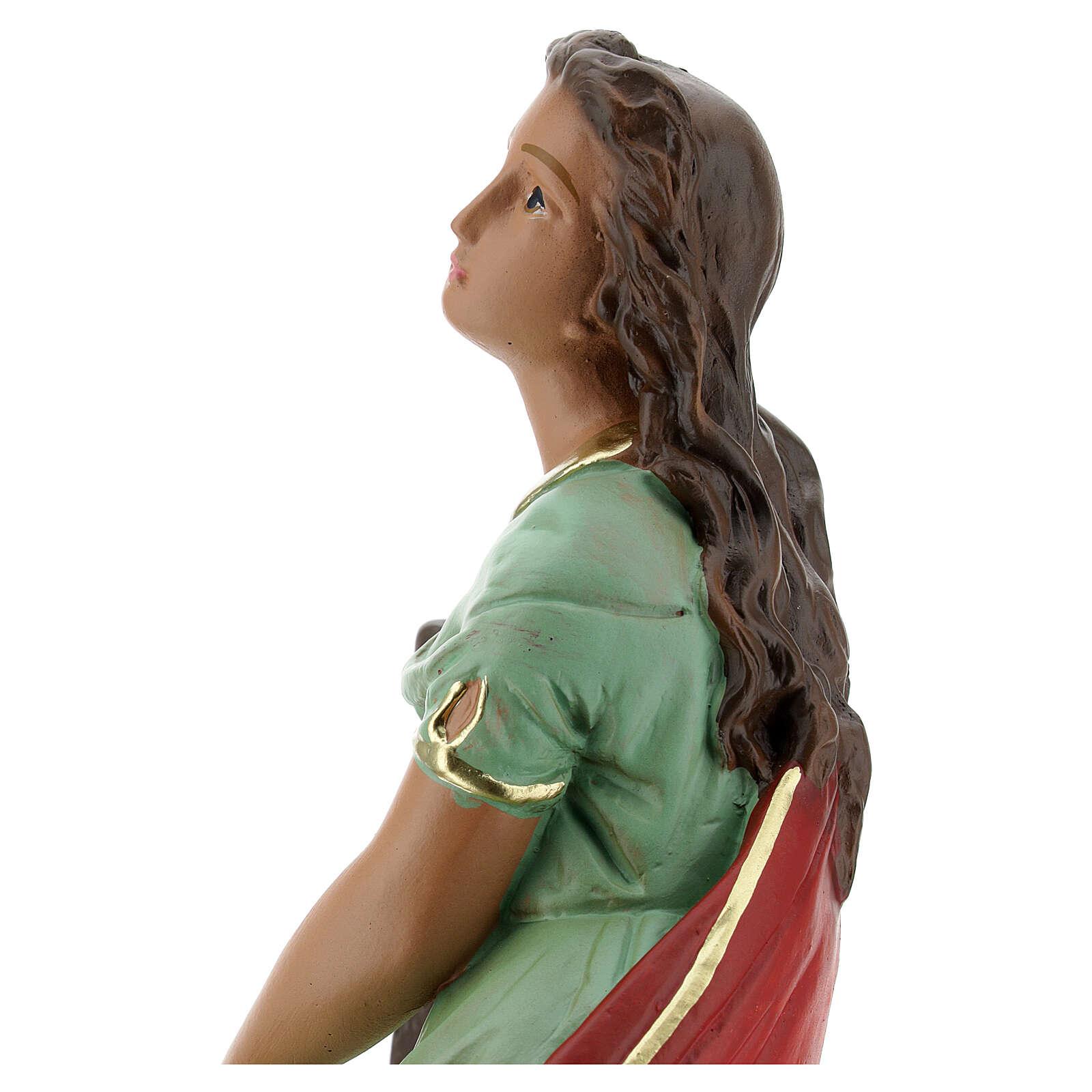 Santa Cecilia estatua yeso 30 cm pintada a mano Barsanti 4