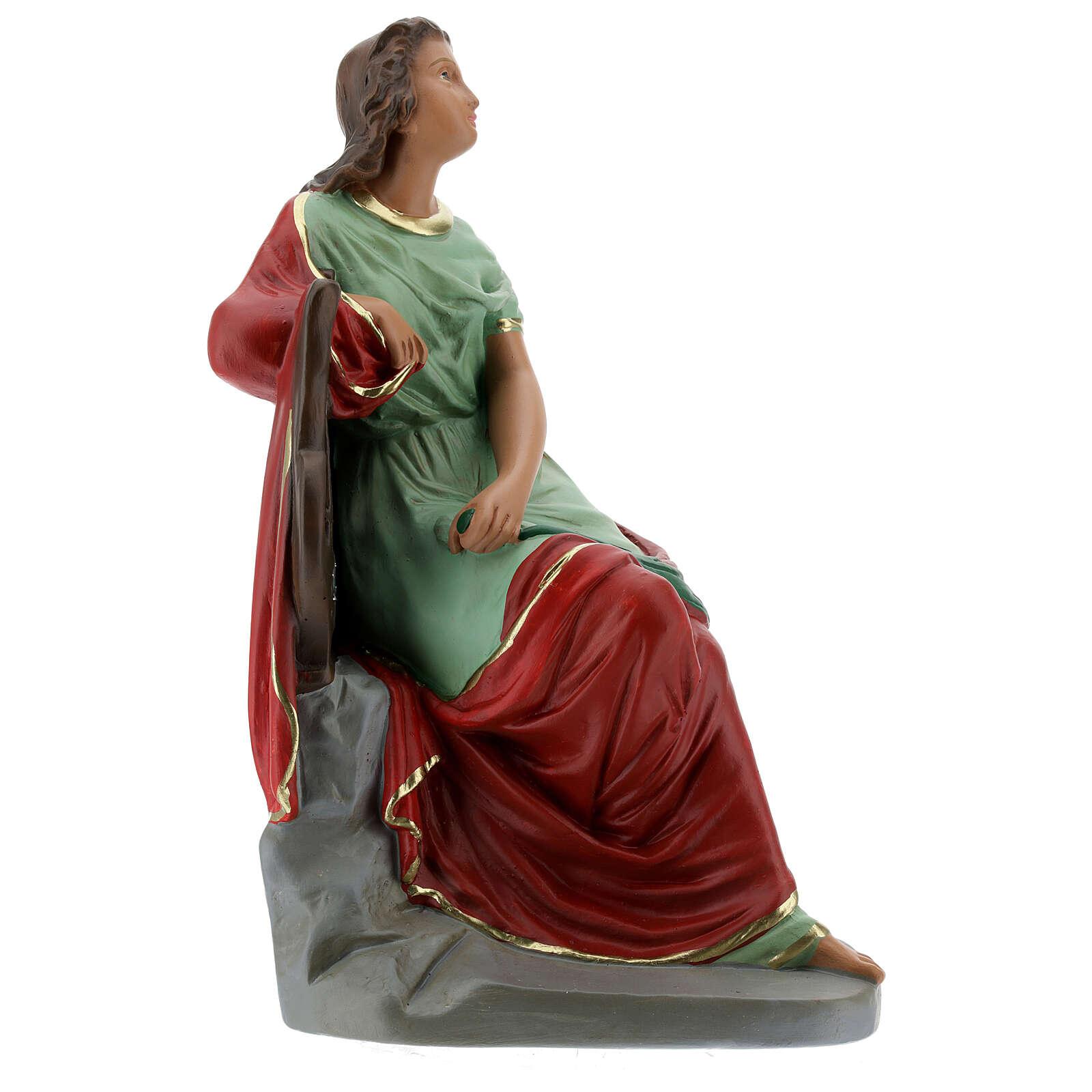 Sainte Cécile statue plâtre 30 cm peinte main Barsanti 4
