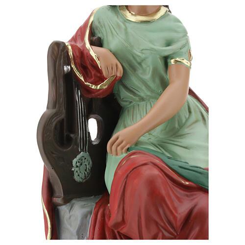 Sainte Cécile statue plâtre 30 cm peinte main Barsanti 6