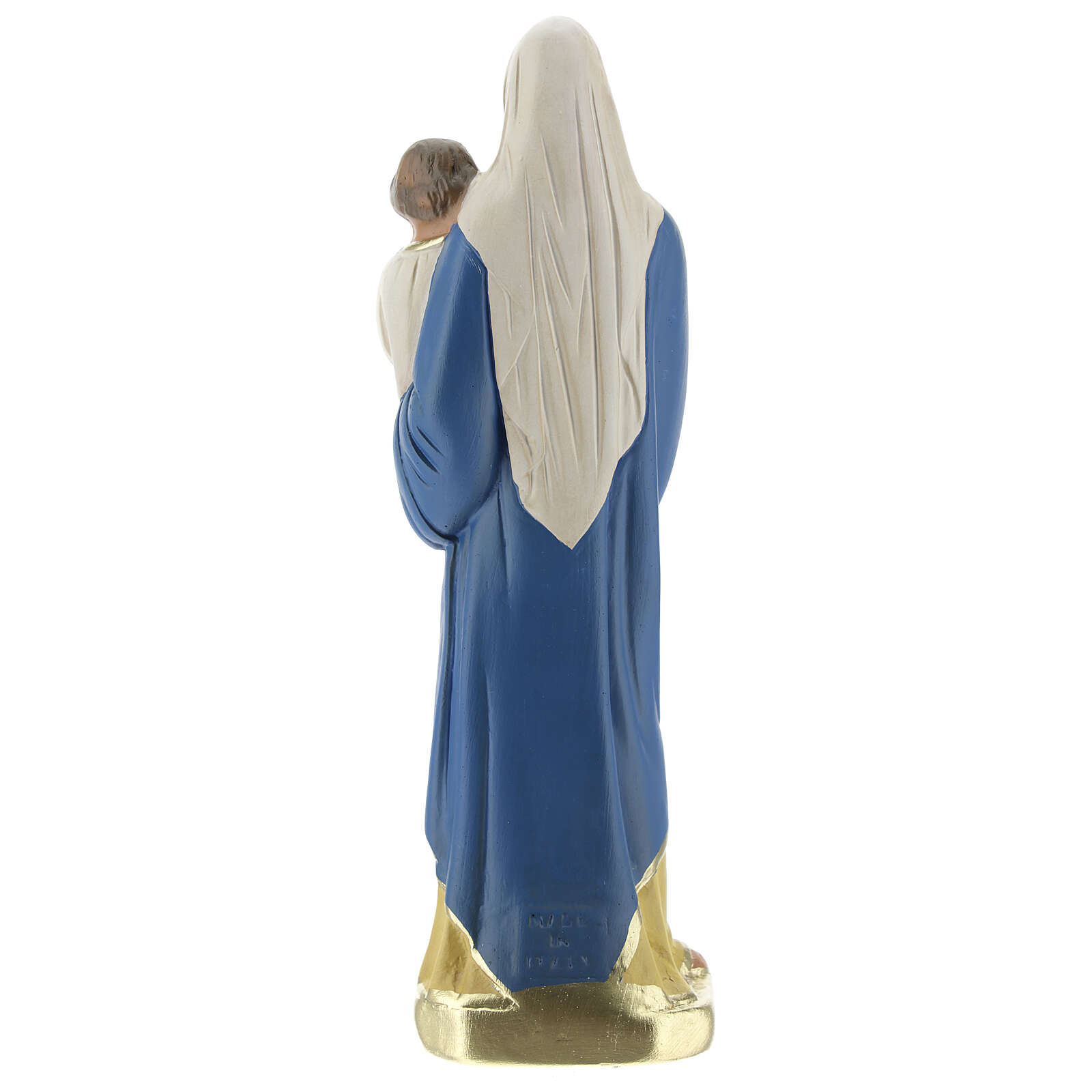 Vierge à l'Enfant 20 cm statue plâtre peinte à la main Barsanti 4