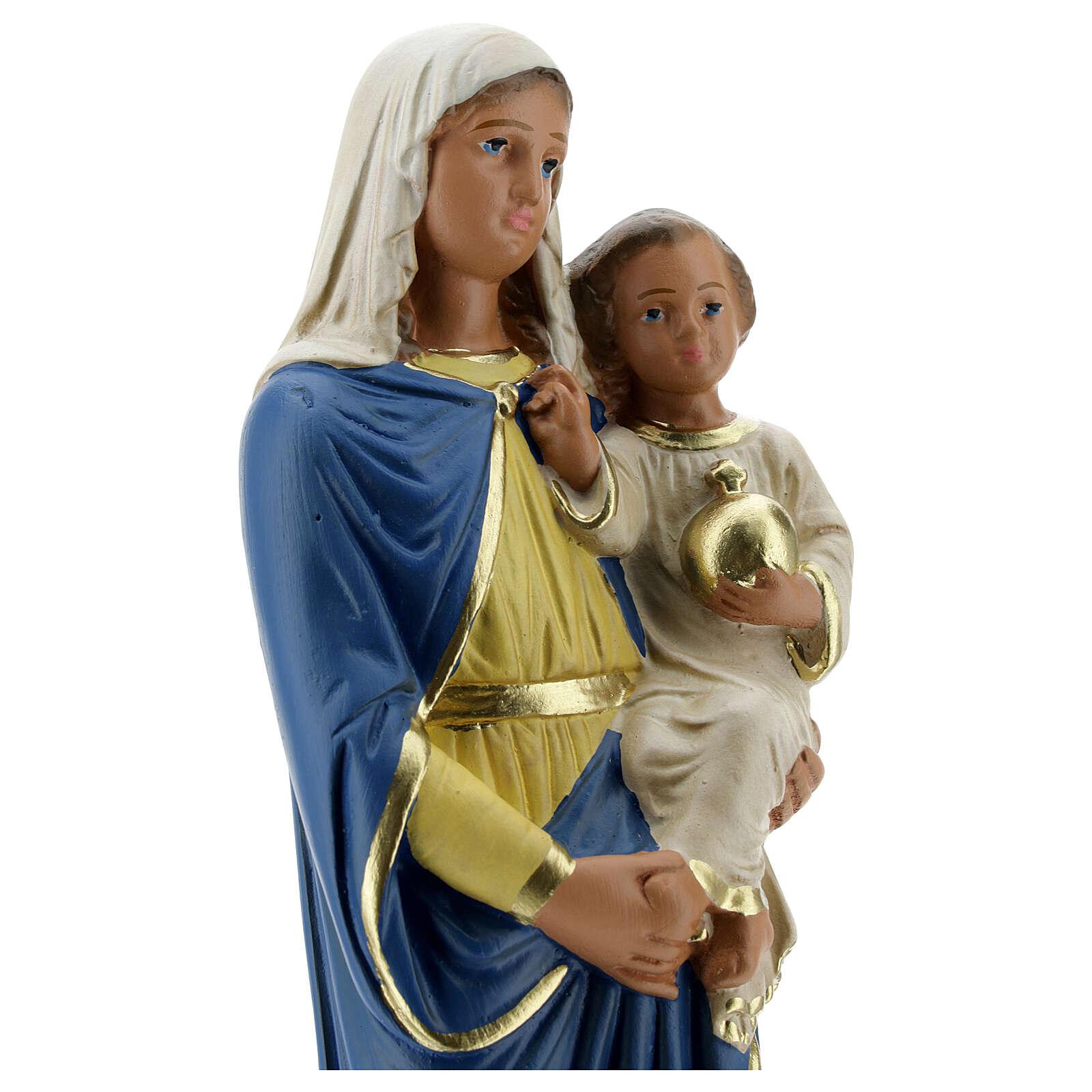 Virgin with child 30 cm hand painted plaster statue Arte Barsanti 4