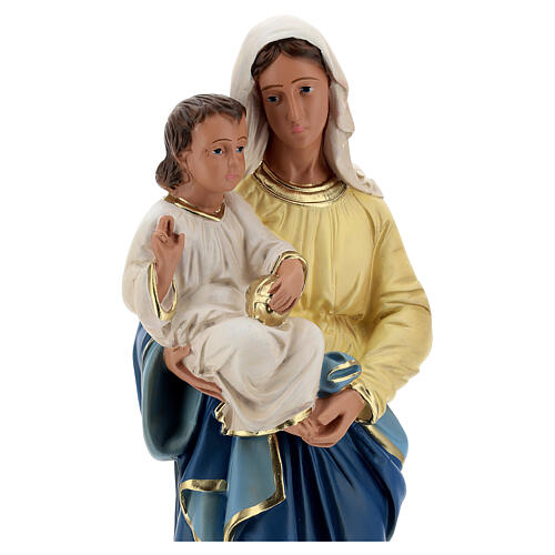 Madonna and Child plaster statue, 40 cm hand painted Barsanti 8