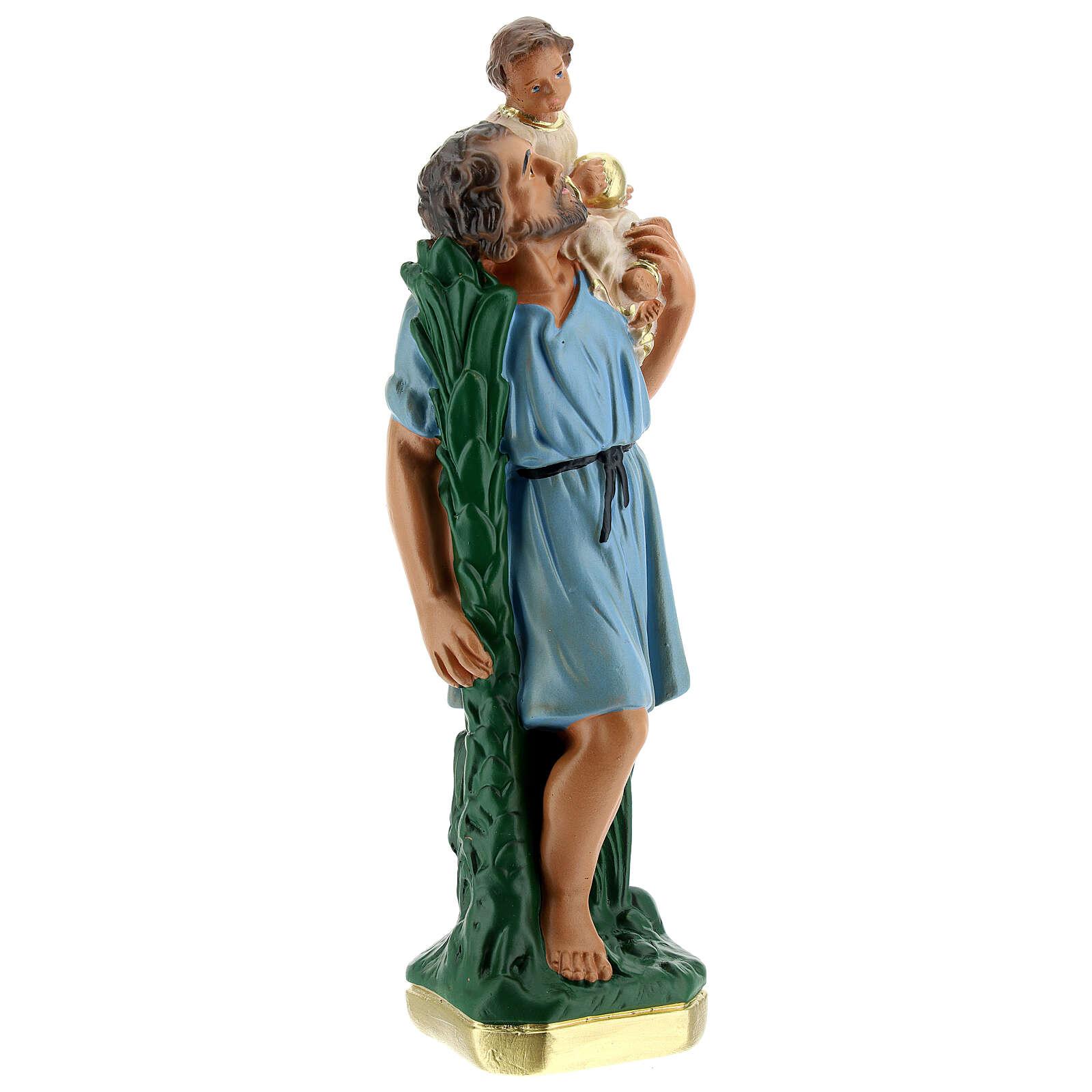 Saint Christophe statue plâtre 20 cm peint main Arte Barsanti 4