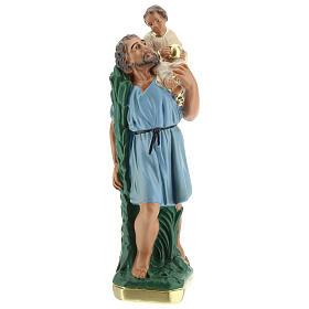 Saint Christophe statue plâtre 20 cm peint main Arte Barsanti s1