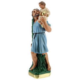 Saint Christophe statue plâtre 20 cm peint main Arte Barsanti s2