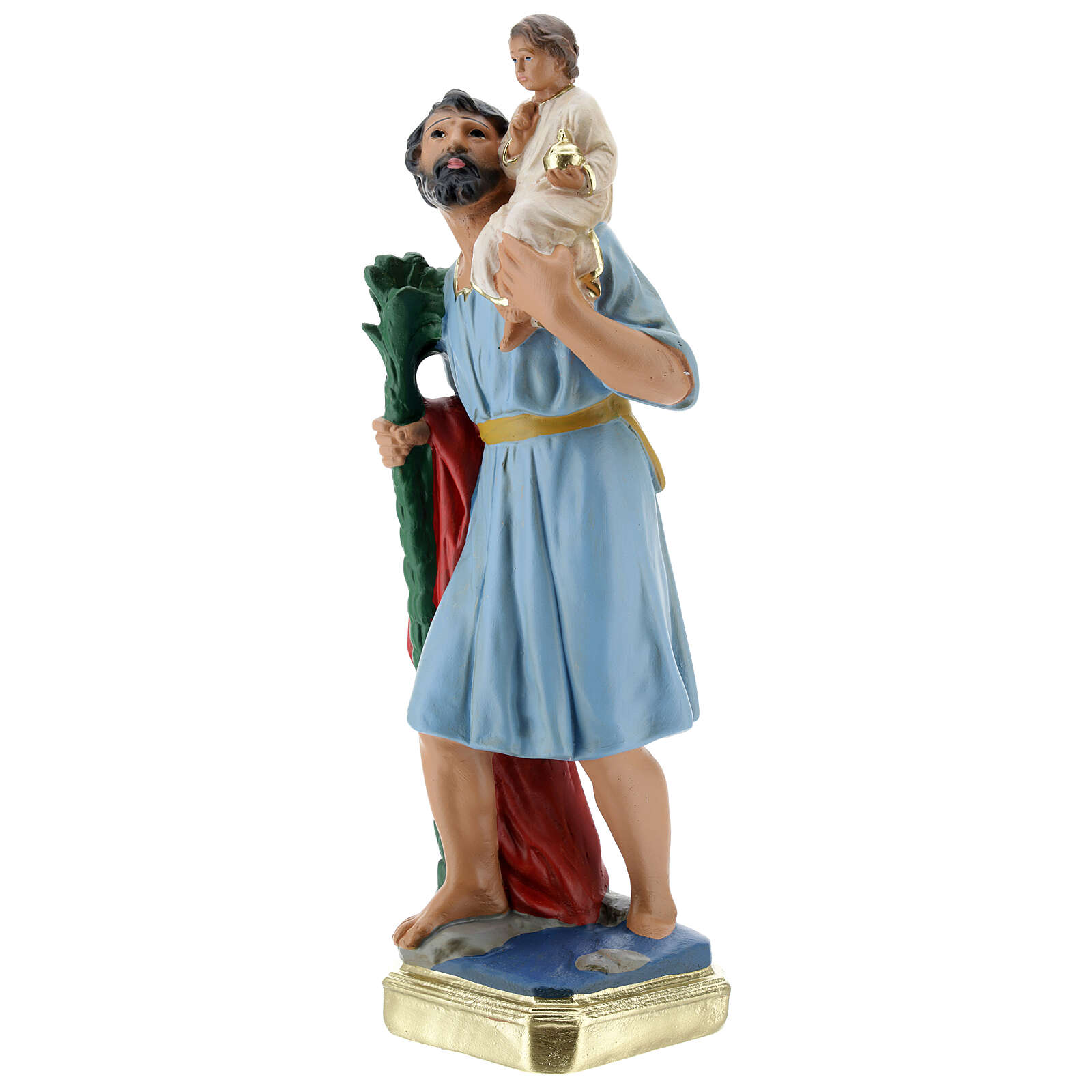 Statua San Cristoforo gesso 30 cm dipinta a mano Arte Barsanti 4