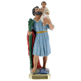 Statua San Cristoforo gesso 30 cm dipinta a mano Arte Barsanti s1