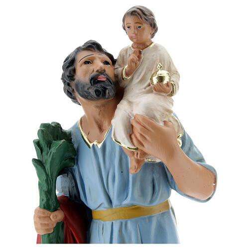 Statua San Cristoforo gesso 30 cm dipinta a mano Arte Barsanti 2