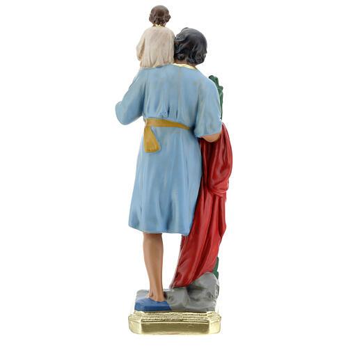 Statua San Cristoforo gesso 30 cm dipinta a mano Arte Barsanti 5