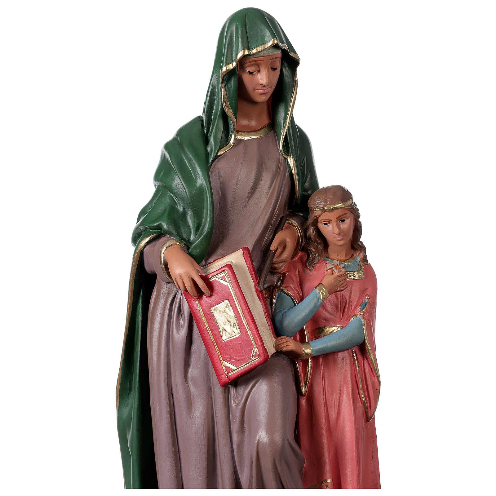 Statue Sainte Anne plâtre 40 cm peinte main Arte Barsanti 4