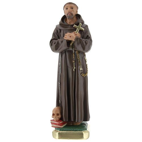 São Francisco de Assis gesso imagem pintada à mão 20 cm Barsanti