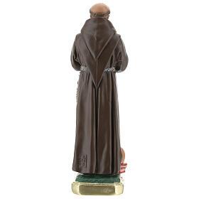 Saint Francis of Assisi statue, 20 cm hand painted plaster Barsanti s5