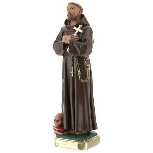 Saint Francis of Assisi statue, 20 cm hand painted plaster Barsanti 3