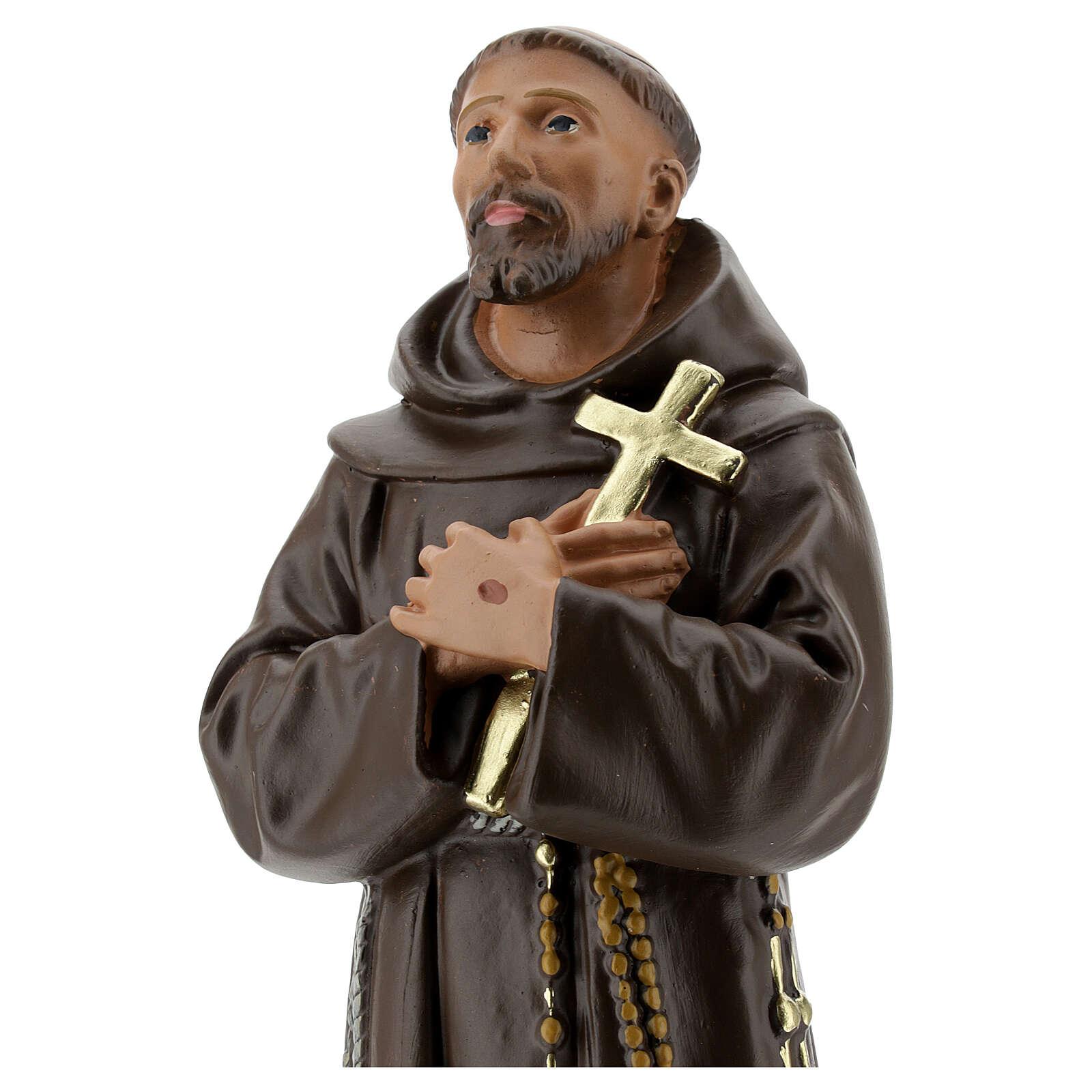 Statua San Francesco D'Assisi gesso 30 cm dipinta a mano Barsanti 4