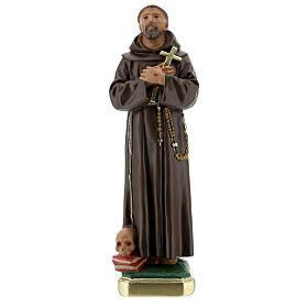 Statua San Francesco D'Assisi gesso 30 cm dipinta a mano Barsanti s1