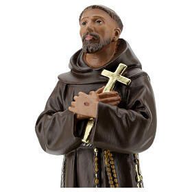 Statua San Francesco D'Assisi gesso 30 cm dipinta a mano Barsanti s2