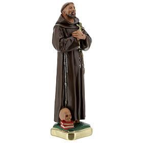 Statua San Francesco D'Assisi gesso 30 cm dipinta a mano Barsanti s5