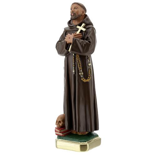 Statua San Francesco D'Assisi gesso 30 cm dipinta a mano Barsanti 3