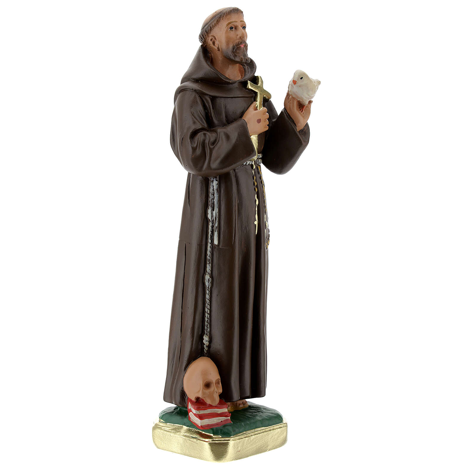 St Francis with dove statue, 20 cm in plaster Barsanti 4