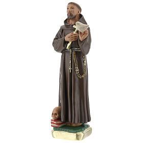 St Francis with dove statue, 20 cm in plaster Barsanti s2