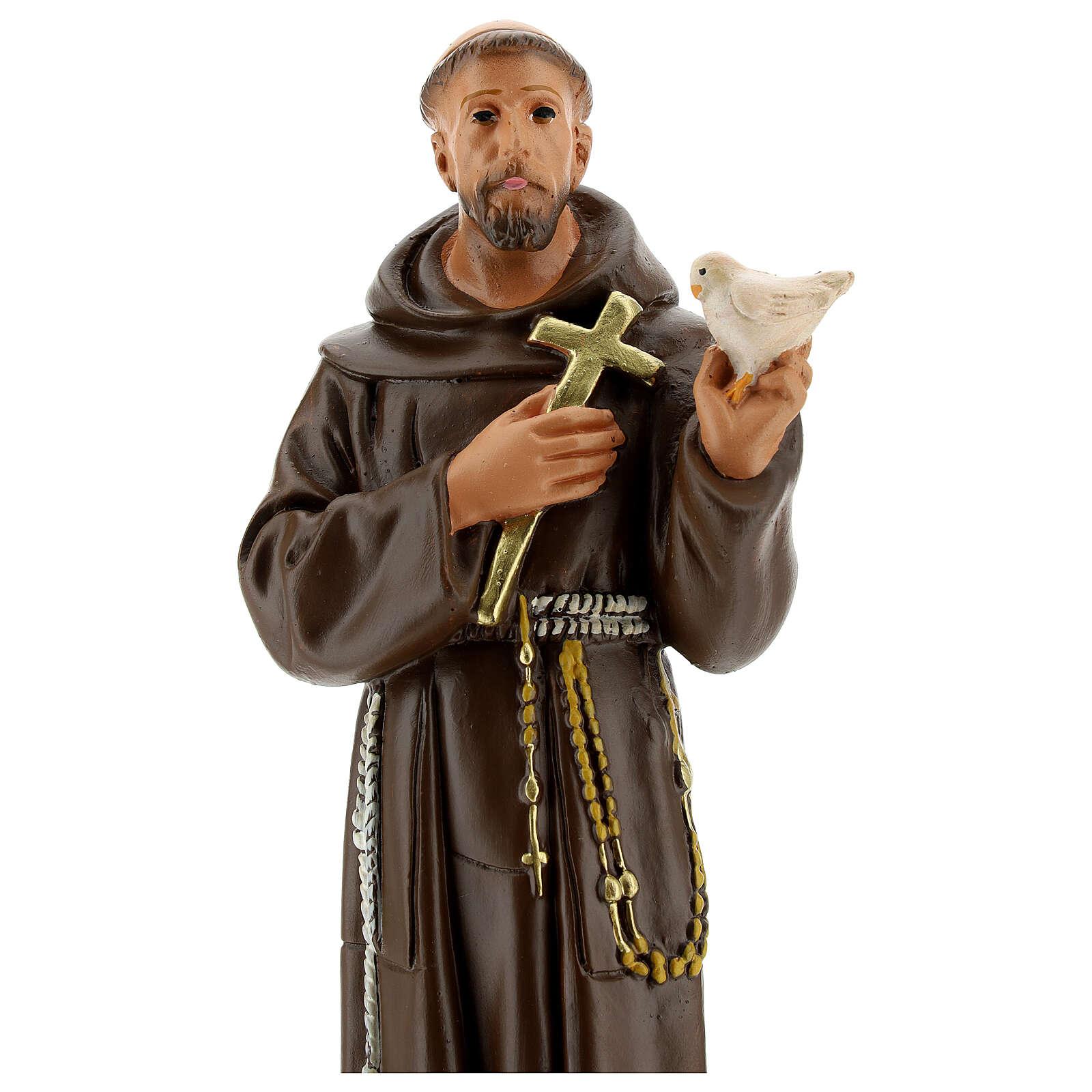 Statue St François d'Assise colombe h 30 cm plâtre Arte Barsanti 4