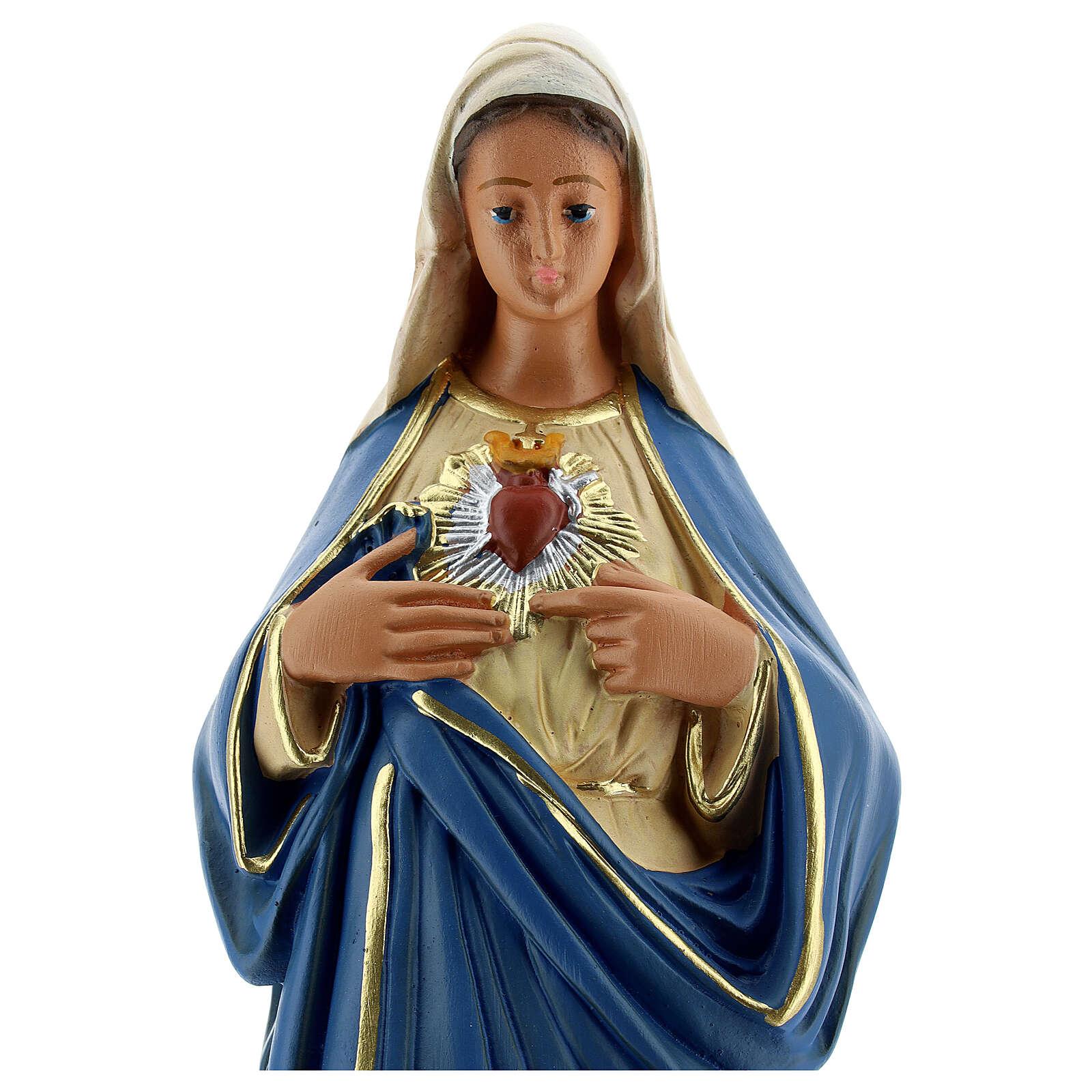 Sacred Heart of Mary hand painted plaster statue Arte Barsanti 30 cm 4