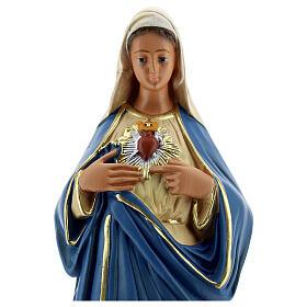 Sacred Heart of Mary hand painted plaster statue Arte Barsanti 30 cm s2