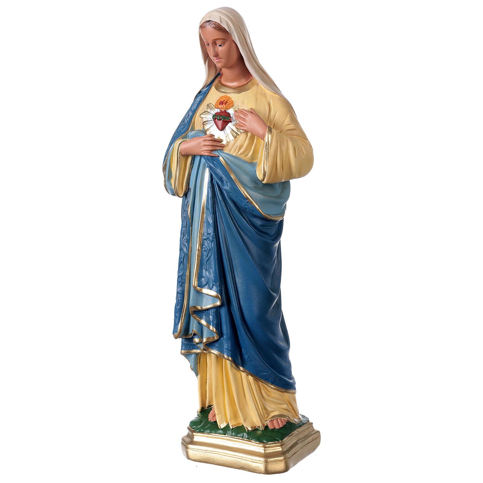 Sagrado Corazón de María 40 cm estatua yeso pintada a mano Arte Barsanti 4