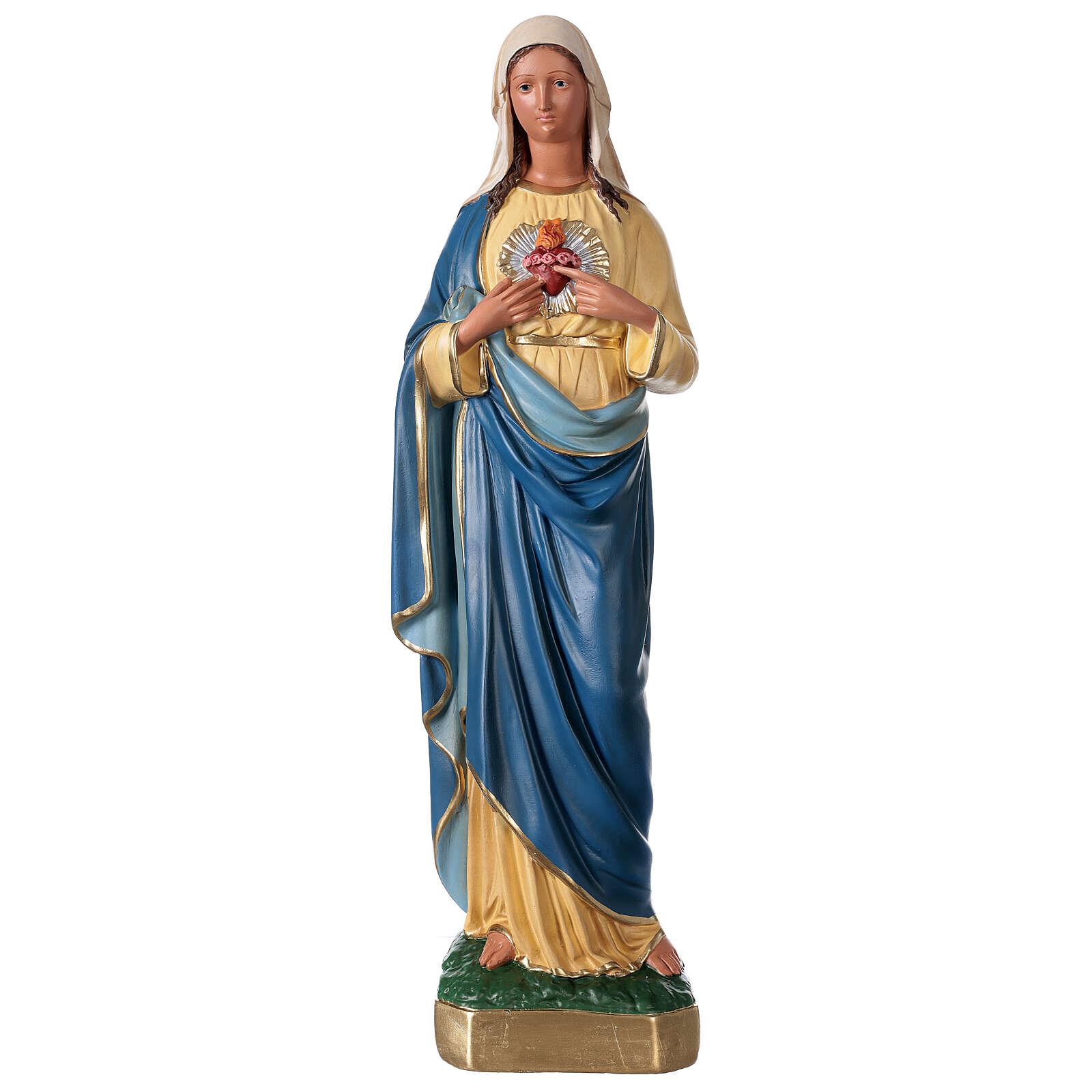 Sagrado Corazón de María estatua yeso 60 cm coloreada mano Arte Barsanti 4