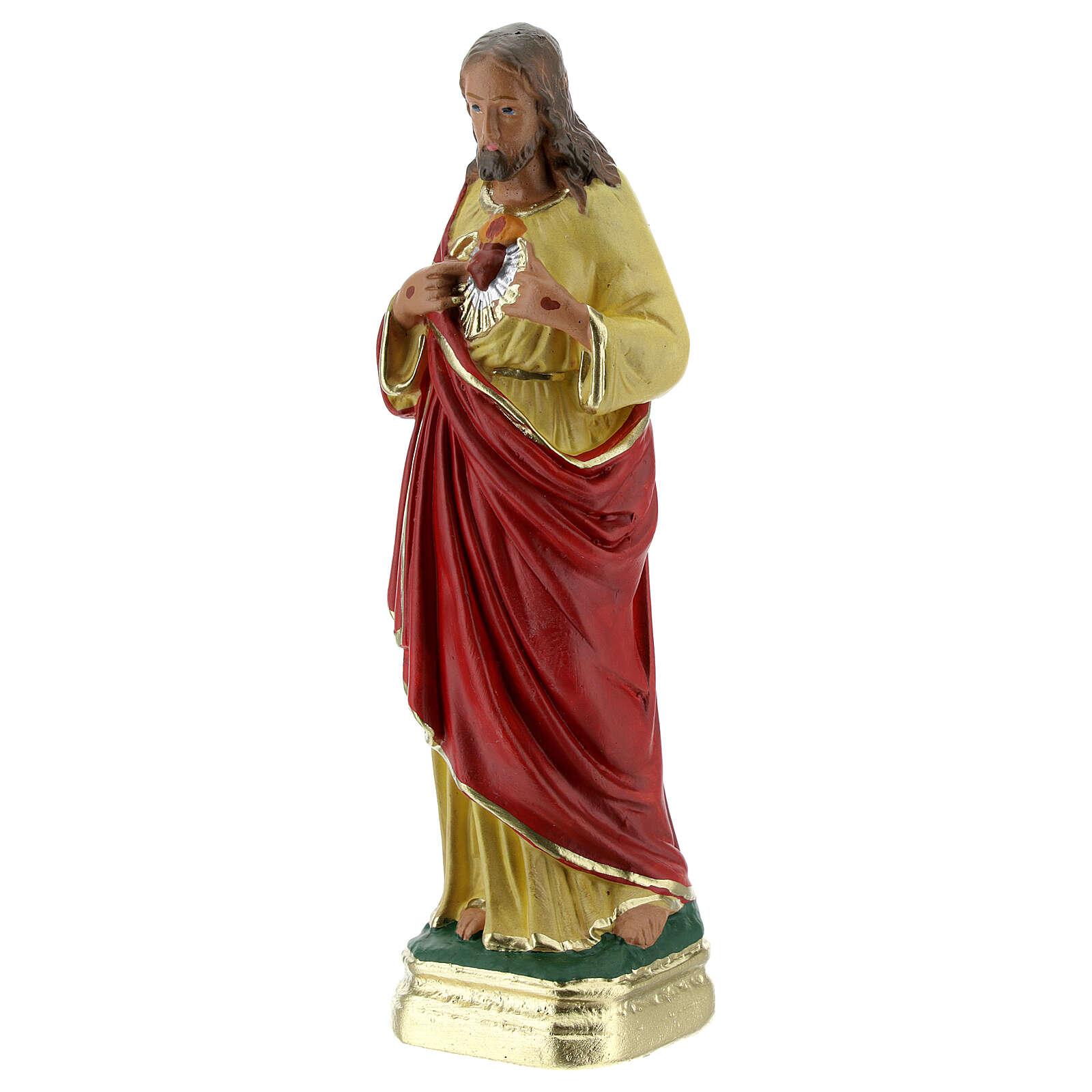 Sagrado Corazón de Jesús manos en el pecho estatua yeso 15 cm Barsanti 4
