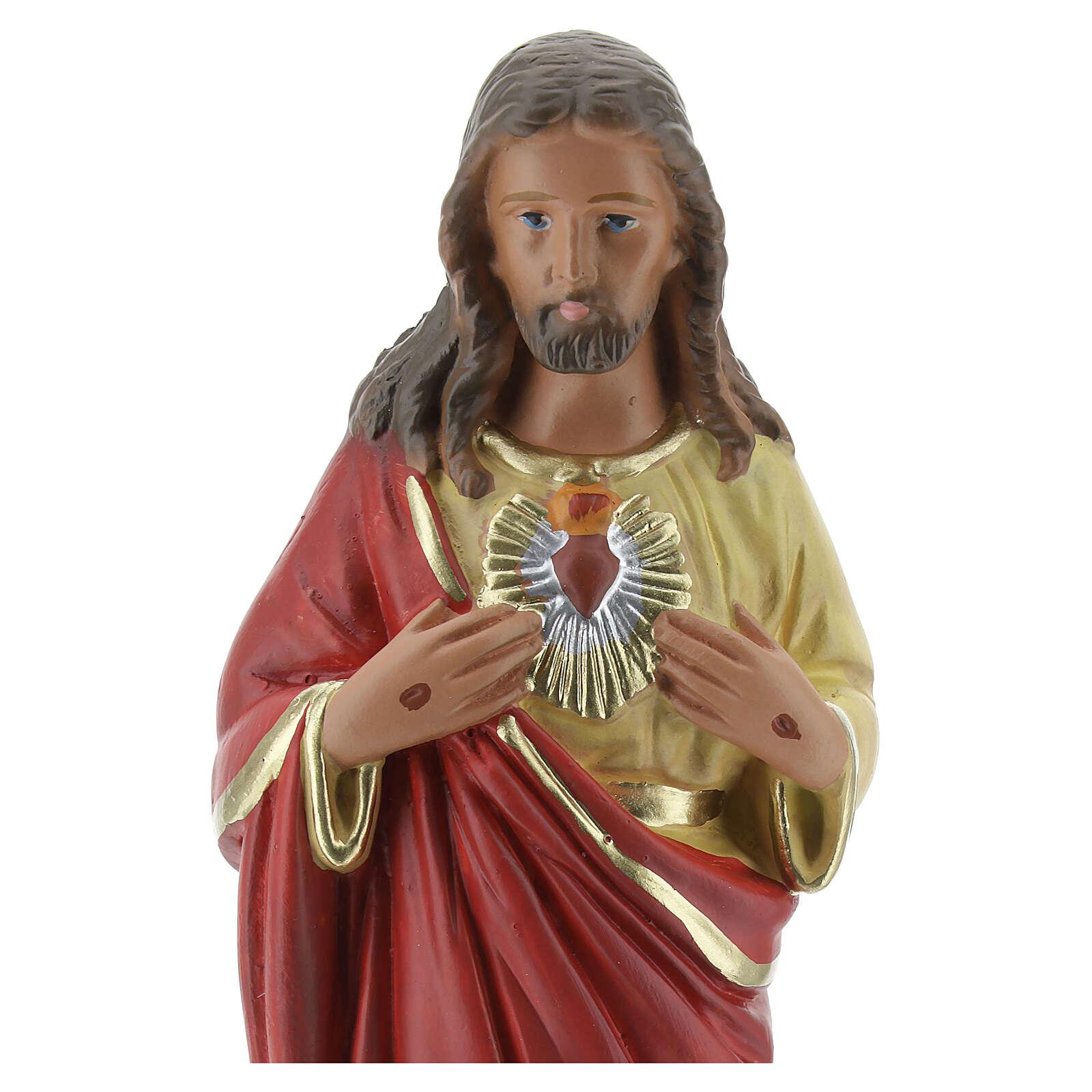 Statue Sacré-Coeur de Jésus 20 cm plâtre peint main Barsanti 4