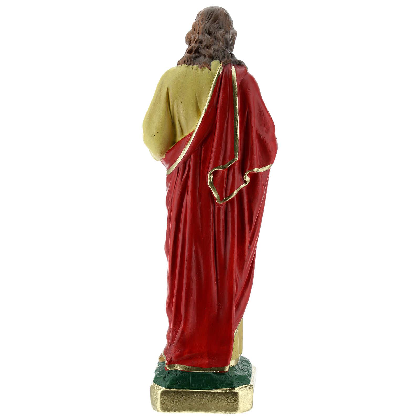 Sacré-Coeur de Jésus 25 cm statue plâtre peinte main Barsanti 4