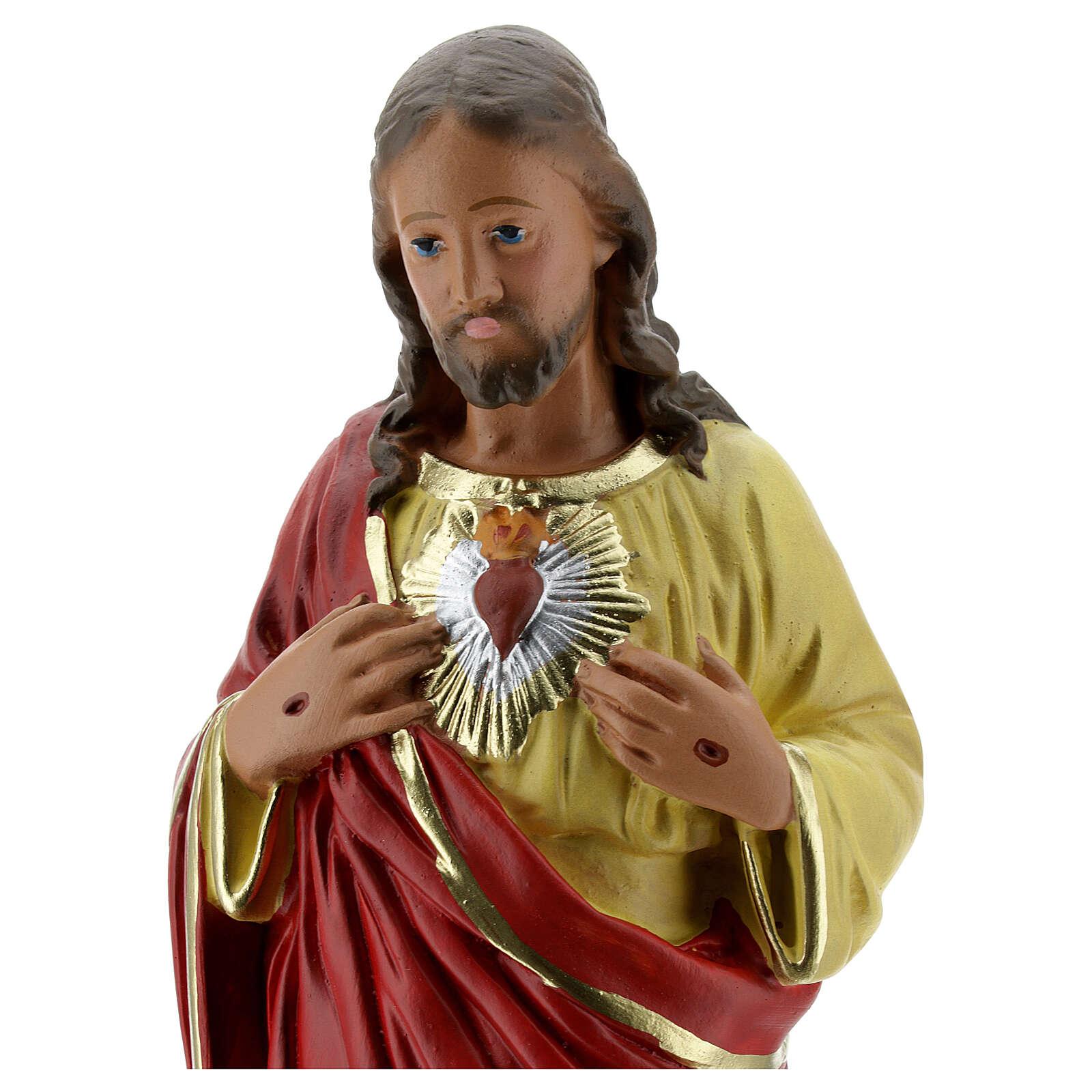 Sacred Heart of Jesus hands to chest plaster statue 30 cm Arte Barsanti 4