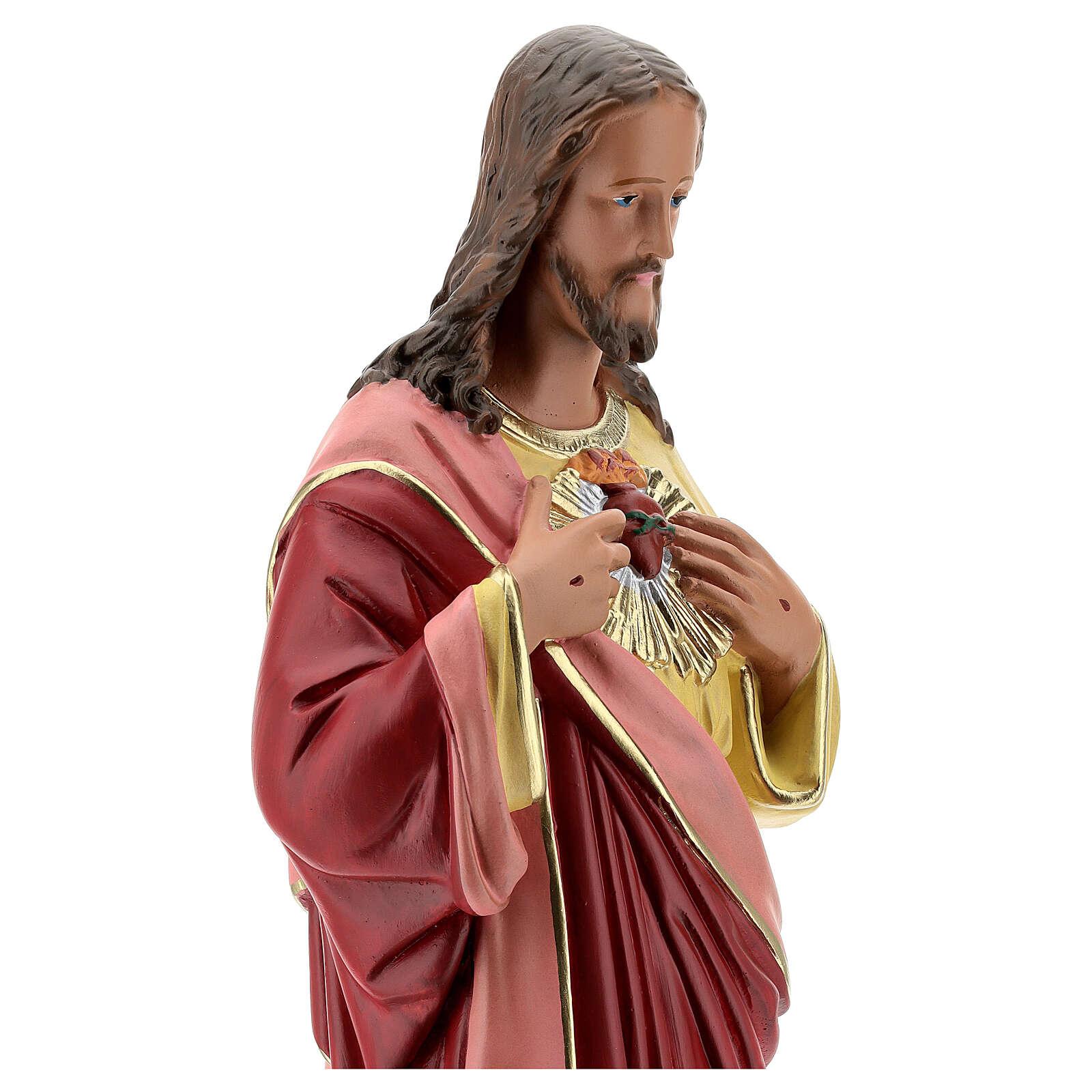 Sagrado Corazón Jesús manos en el pecho 50 cm estatua yeso Barsanti 4
