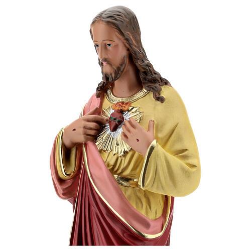 Sagrado Corazón Jesús manos en el pecho 50 cm estatua yeso Barsanti 2