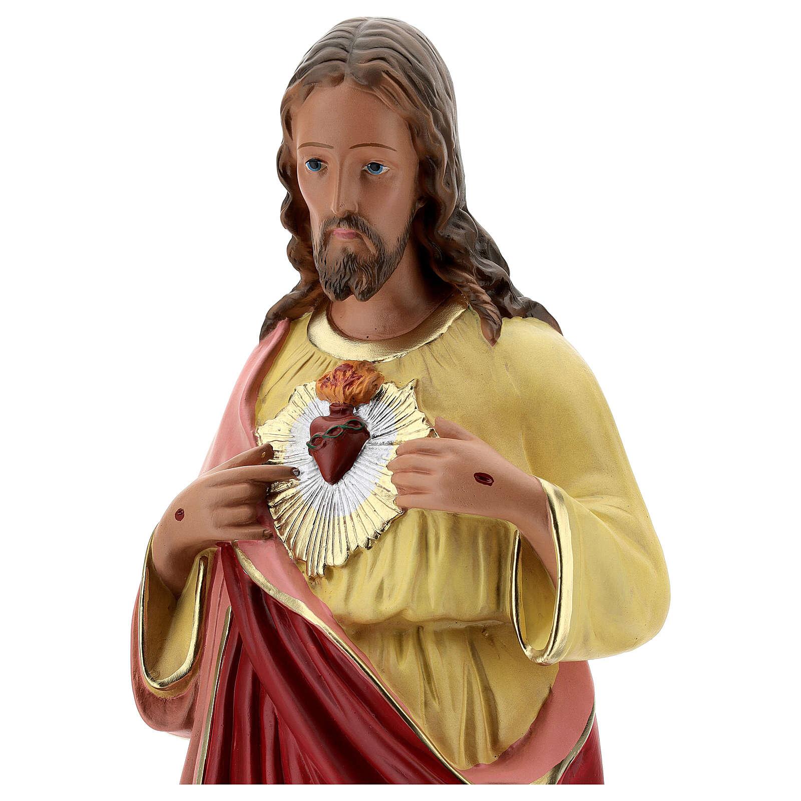 Sagrado Corazón Jesús 60 cm manos en el pecho estatua yeso Barsanti 4