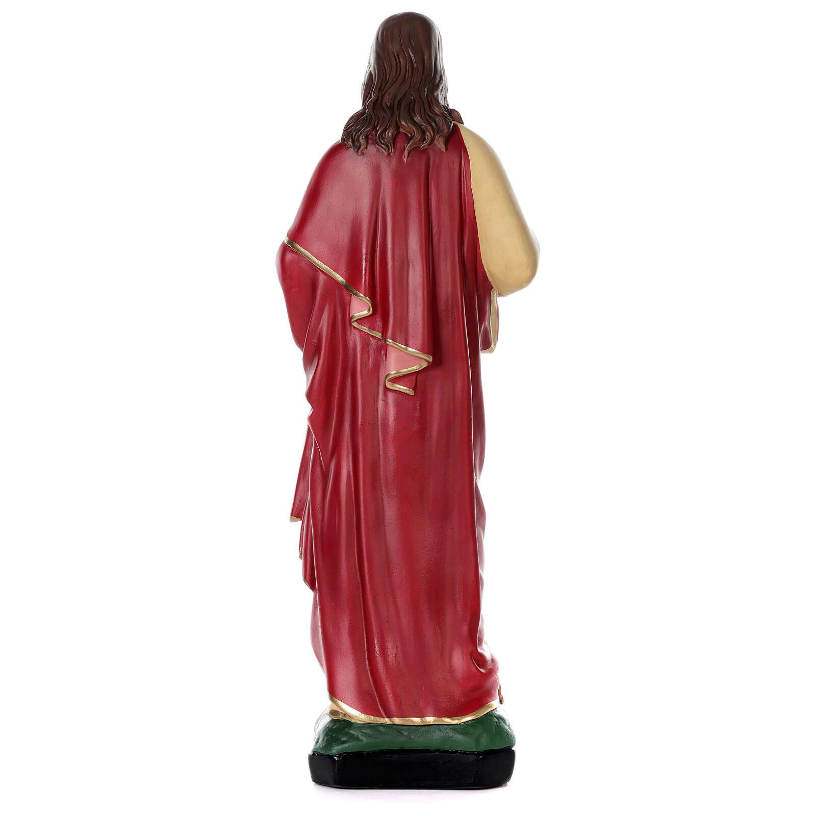 Sacré-Coeur Jésus peint main 80 cm plâtre Arte Barsanti 4