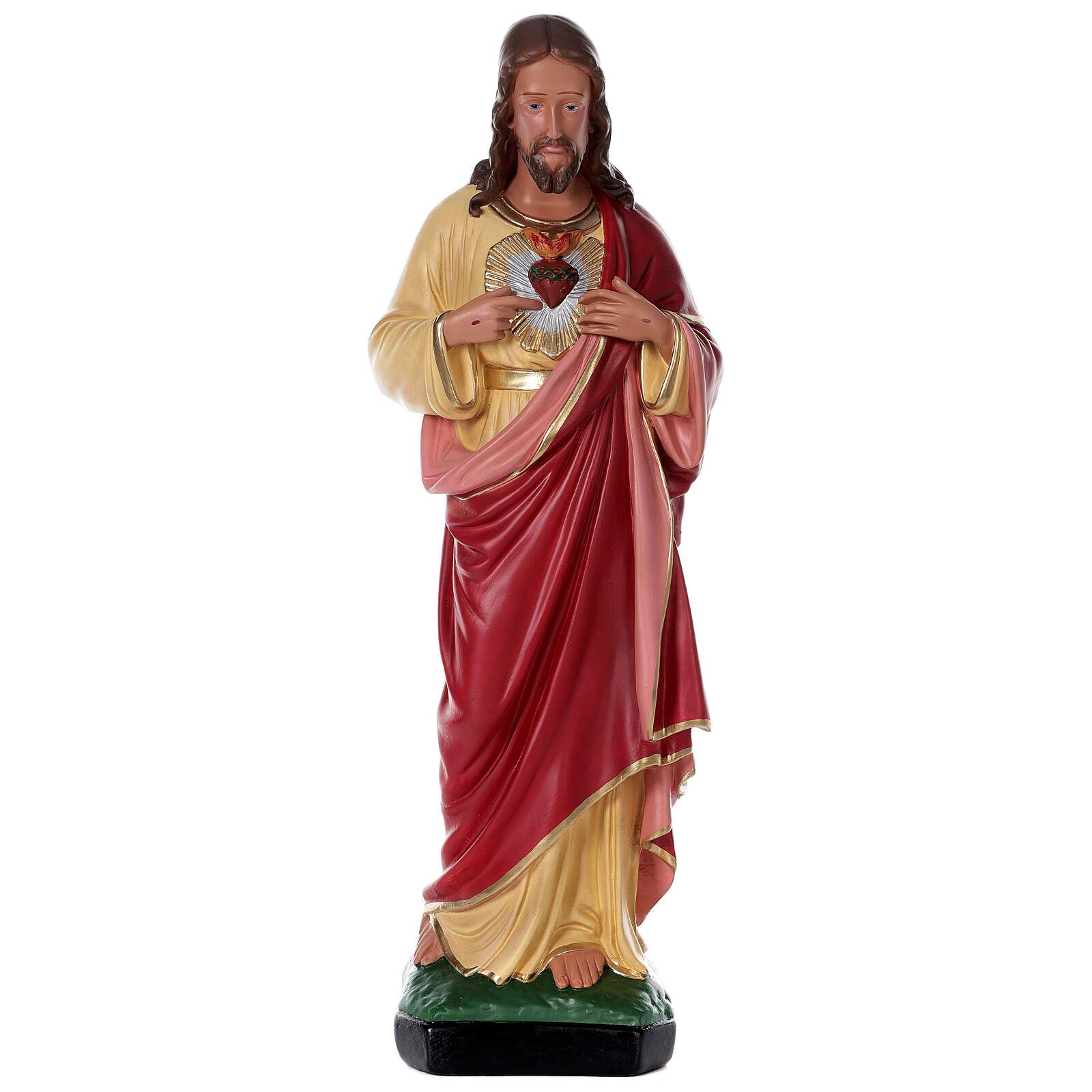 Sacro Cuore Gesù dipinto a mano 80 cm gesso Arte Barsanti 4