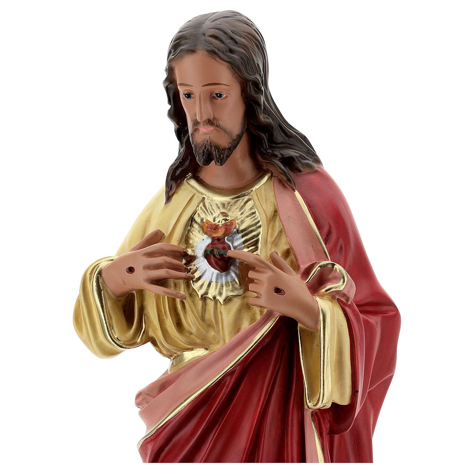 Sagrado Coração de Jesus imagem resina pintada à mão Arte Barsanti 60 cm 4