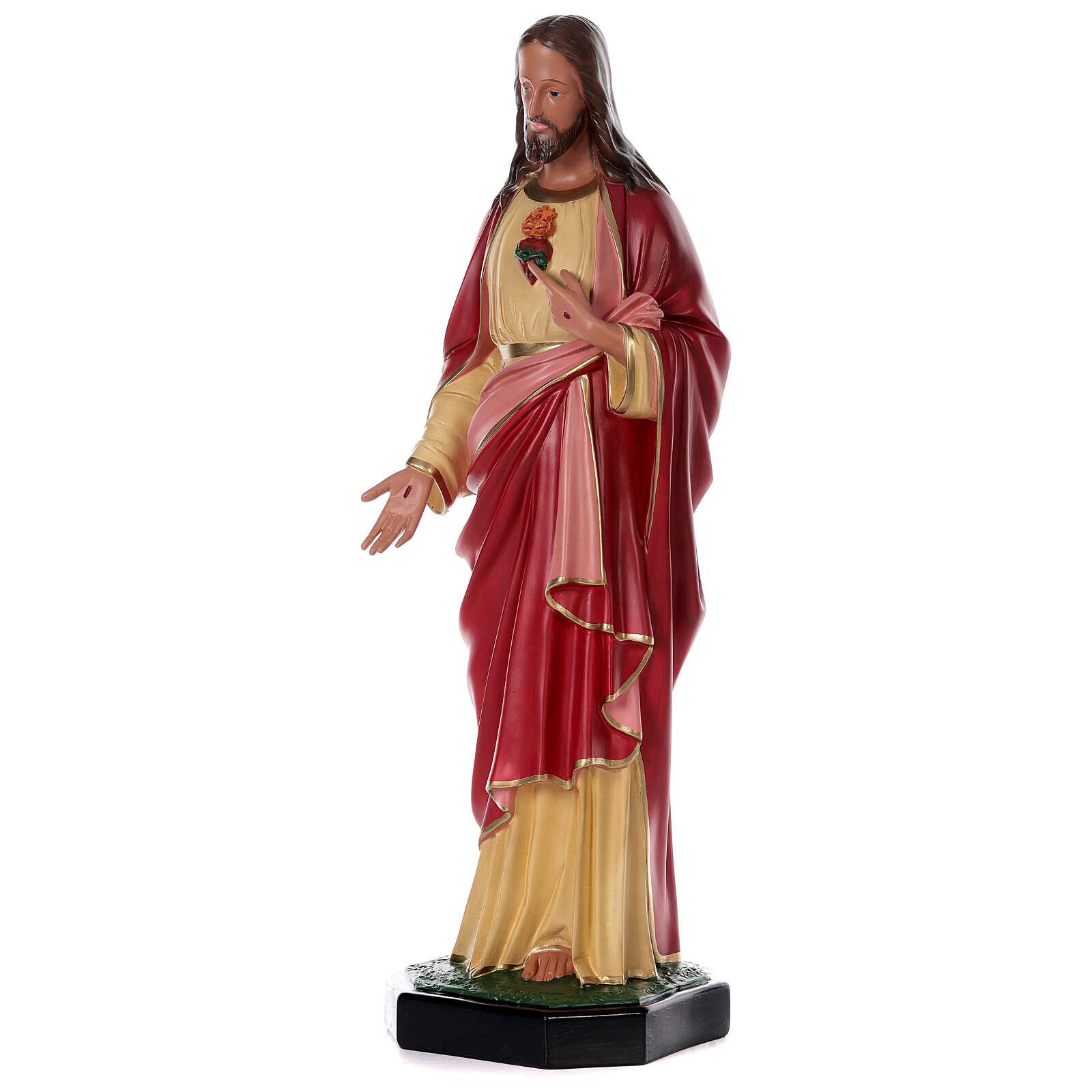 Statue Sacré-Coeur Jésus résine 80 cm peinte main Arte Barsanti 4